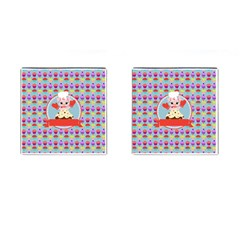 Cupcake With Cute Pig Chef Cufflinks (square) by creativemom