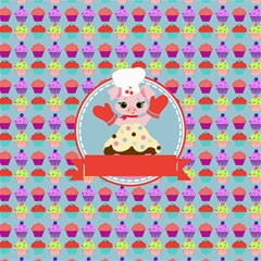 Cupcake With Cute Pig Chef Canvas 20  X 20  (unframed) by creativemom