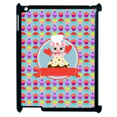 Cupcake With Cute Pig Chef Apple Ipad 2 Case (black)