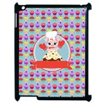 Cupcake with Cute Pig Chef Apple iPad 2 Case (Black) Front