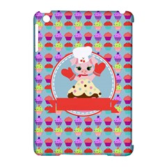 Cupcake With Cute Pig Chef Apple Ipad Mini Hardshell Case (compatible With Smart Cover) by creativemom