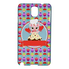 Cupcake With Cute Pig Chef Samsung Galaxy Note 3 N9005 Hardshell Case by creativemom