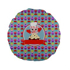 Cupcake With Cute Pig Chef 15  Premium Flano Round Cushion  by creativemom