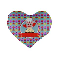Cupcake With Cute Pig Chef 16  Premium Flano Heart Shape Cushion  by creativemom