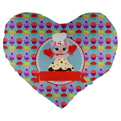 Cupcake With Cute Pig Chef 19  Premium Flano Heart Shape Cushion by creativemom