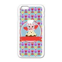 Cupcake With Cute Pig Chef Apple Iphone 6 White Enamel Case by creativemom