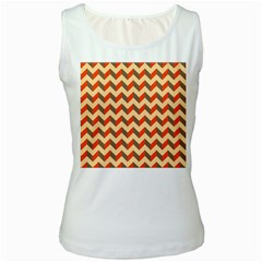 Modern Retro Chevron Patchwork Pattern  Women s Tank Top (white) by creativemom