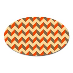 Modern Retro Chevron Patchwork Pattern  Magnet (oval) by creativemom