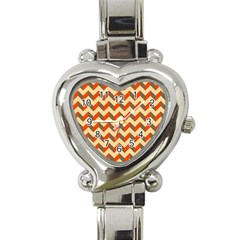 Modern Retro Chevron Patchwork Pattern  Heart Italian Charm Watch  by creativemom