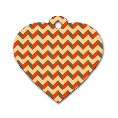 Modern Retro Chevron Patchwork Pattern  Dog Tag Heart (one Sided)  by creativemom