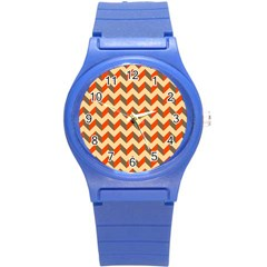 Modern Retro Chevron Patchwork Pattern  Plastic Sport Watch (small) by creativemom