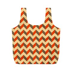 Modern Retro Chevron Patchwork Pattern  Reusable Bag (m) by creativemom