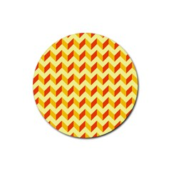 Modern Retro Chevron Patchwork Pattern  Drink Coaster (round) by creativemom