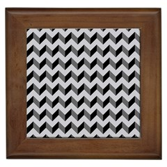 Modern Retro Chevron Patchwork Pattern  Framed Ceramic Tile by creativemom