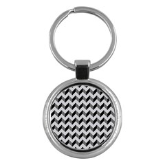 Modern Retro Chevron Patchwork Pattern  Key Chain (round) by creativemom