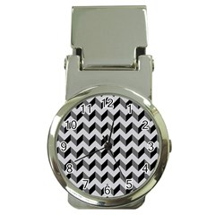 Modern Retro Chevron Patchwork Pattern  Money Clip With Watch by creativemom