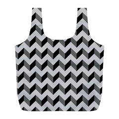 Modern Retro Chevron Patchwork Pattern  Reusable Bag (l) by creativemom