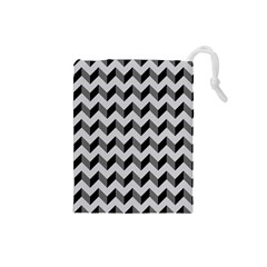 Modern Retro Chevron Patchwork Pattern  Drawstring Pouch (small) by creativemom
