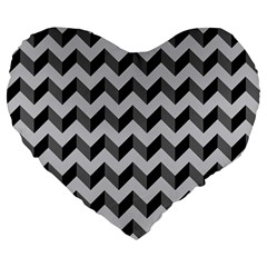 Modern Retro Chevron Patchwork Pattern  19  Premium Flano Heart Shape Cushion by creativemom