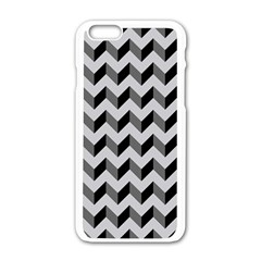 Modern Retro Chevron Patchwork Pattern  Apple Iphone 6 White Enamel Case by creativemom