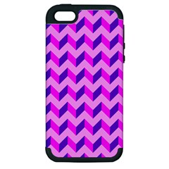 Modern Retro Chevron Patchwork Pattern Apple Iphone 5 Hardshell Case (pc+silicone) by creativemom