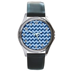 Tiffany Blue Modern Retro Chevron Patchwork Pattern Round Leather Watch (silver Rim) by creativemom