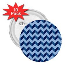Tiffany Blue Modern Retro Chevron Patchwork Pattern 2 25  Button (10 Pack) by creativemom