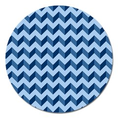 Tiffany Blue Modern Retro Chevron Patchwork Pattern Magnet 5  (round) by creativemom