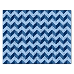 Tiffany Blue Modern Retro Chevron Patchwork Pattern Jigsaw Puzzle (rectangle) by creativemom