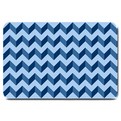 Tiffany Blue Modern Retro Chevron Patchwork Pattern Large Door Mat by creativemom