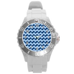 Tiffany Blue Modern Retro Chevron Patchwork Pattern Plastic Sport Watch (large) by creativemom