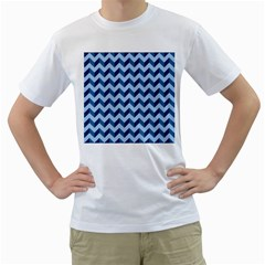 Tiffany Blue Modern Retro Chevron Patchwork Pattern Men s T Shirt (white)  by creativemom