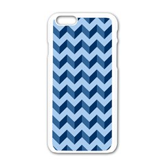 Tiffany Blue Modern Retro Chevron Patchwork Pattern Apple Iphone 6 White Enamel Case by creativemom