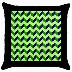 Green Modern Retro Chevron Patchwork Pattern Black Throw Pillow Case by creativemom