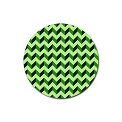 Green Modern Retro Chevron Patchwork Pattern Drink Coaster (round) by creativemom