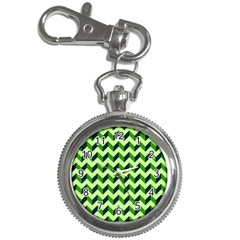 Green Modern Retro Chevron Patchwork Pattern Key Chain Watch by creativemom