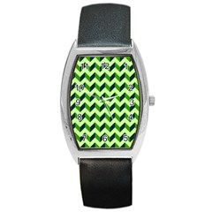Green Modern Retro Chevron Patchwork Pattern Tonneau Leather Watch by creativemom