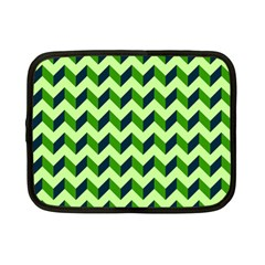 Green Modern Retro Chevron Patchwork Pattern Netbook Sleeve (small) by creativemom