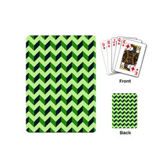Green Modern Retro Chevron Patchwork Pattern Playing Cards (mini) by creativemom