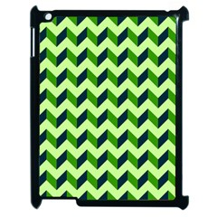 Green Modern Retro Chevron Patchwork Pattern Apple Ipad 2 Case (black) by creativemom