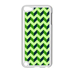 Green Modern Retro Chevron Patchwork Pattern Apple Ipod Touch 5 Case (white) by creativemom