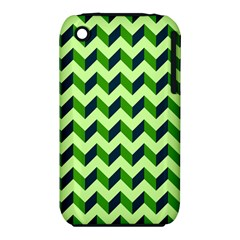 Green Modern Retro Chevron Patchwork Pattern Apple Iphone 3g/3gs Hardshell Case (pc+silicone) by creativemom