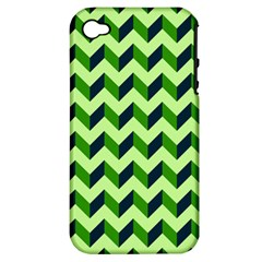 Green Modern Retro Chevron Patchwork Pattern Apple Iphone 4/4s Hardshell Case (pc+silicone) by creativemom