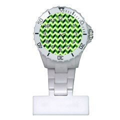 Green Modern Retro Chevron Patchwork Pattern Nurses Watch by creativemom