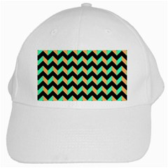 Neon And Black Modern Retro Chevron Patchwork Pattern White Baseball Cap by creativemom