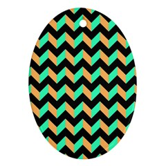 Neon And Black Modern Retro Chevron Patchwork Pattern Oval Ornament by creativemom