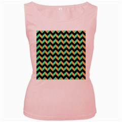 Neon And Black Modern Retro Chevron Patchwork Pattern Women s Tank Top (pink) by creativemom
