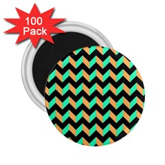 Neon And Black Modern Retro Chevron Patchwork Pattern 2 25  Button Magnet (100 Pack) by creativemom