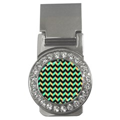 Neon And Black Modern Retro Chevron Patchwork Pattern Money Clip (cz) by creativemom