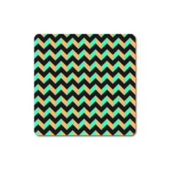 Neon And Black Modern Retro Chevron Patchwork Pattern Magnet (square) by creativemom